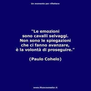 Le emozioni sono cavalli selvaggi. Non sono le spiegazioni che ci fanno avanzare, è la volontà di proseguire. (Paulo Cohelo)