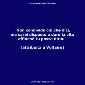 Non condivido cio che dici ma sarei disposto a dare la vita affinche tu possa dirlo (Voltaire)