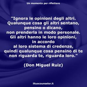 """""""Ignora le opinioni degli altri. Qualunque cosa gli altri sentano, pensino o dicano, non prenderla in modo personale. Gli altri hanno le loro opinioni, in accordo al loro sistema di credenze, quindi qualunque cosa pensino di te non riguarda te, riguarda loro."""" (Don Miguel Ruiz)"""
