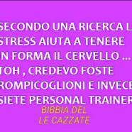 """""""Secondo una ricerca lo stress aiuta a tenere in forma il cervello… Toh, credevo foste rompicoglioni e invece siete personal trainer"""""""