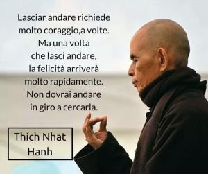 """""""Lasciar andare richiede molto coraggio, a volte. Ma una volta che lasci andare, la felicità arriverà molto rapidamente. Non dovrai andare in giro a cercarla."""" (Thich-Nhat-Hanh)"""