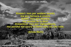 """""""Rinasci: non per andare avanti, ma per tornare a vivere. Amati: non per dovere, ma perché te lo devi. Dimentica: non per vigliaccheria, ma perché nel cuore si tiene solo ciò che vale."""" (Silvia Nelli)"""