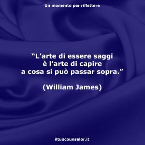 """""""L'arte di essere saggi è l'arte di capire a cosa si può passar sopra."""" (William James)"""