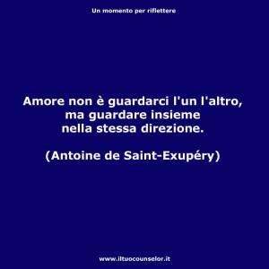 """""""Amore non è guardarci l'un l'altro, ma guardare insieme nella stessa direzione."""" (Antoine de Saint-Exupéry)"""