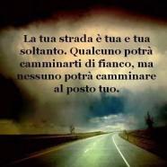 """""""La tua strada è tua e tua soltanto. Qualcuno potrà camminarti di fianco, ma nessuno potrà camminare al posto tuo."""""""