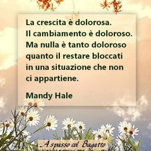 """""""La crescita è dolorosa. Il cambiamento è doloroso. Ma nulla è tanto doloroso quanto il restare bloccati in una situazione che non ci appartiene."""" (Mandy Hale)"""
