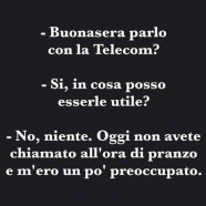 """""""Buonasera parlo con la Telecom?"""" – """"Si, in cosa posso esserle utile?"""" – """"No niente. Oggi non avete chiamato all'ora di pranzo e m'ero un po' preoccupato."""""""