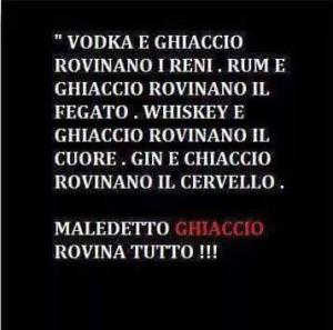 """""""Vodka e ghiaccio rovinano i reni. Rum e ghiaccio rovinano il fegato. Whiskey e ghiaccio rovinano il cuore. Gin e ghiaccio rovinano il cervello. Maledetto Ghiaccio, rovina tutto!!"""""""