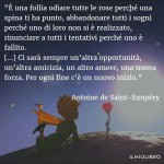 """""""È una follia odiare tutte le rose solo perché una spina ti ha punto, abbandonare tutti i sogni perché uno di loro non si è realizzato, rinunciare a tutti i tentativi perché uno è fallito. (...) Ci sarà sempre un'altrà opportunità, un'altra amicizia, un altro amore, una nuova forza. Per ogni fine c'è un nuovo inizio."""" (Antoine de Saint-Exupéry)"""
