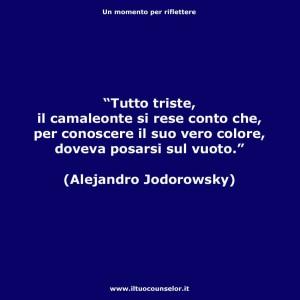 """""""Tutto triste, il camaleonte si rese conto che, per conoscere il suo vero colore, doveva posarsi sul vuoto."""" (Alejandro Jodorowsky)"""