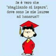 """Se è vero che """"sbagliando si impara"""", dove sono le mie lauree ad honorum??"""
