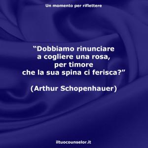 """""""Dobbiamo rinunciare a cogliere una rosa, per timore che la sua spina ci ferisca?"""" (Arthur Schopenhauer)"""