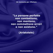"""""""Le persone perfette non combattono, non mentono, non commettono errori e non esistono."""" (Aristotele)"""