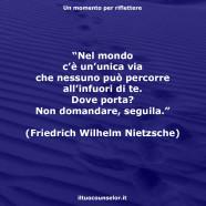 """""""Nel mondo c'è un'unica via che nessuno può percorre all'infuori di te. Dove porta? Non domandare, seguila."""" (Friedrich Wilhelm Nietzsche)"""