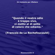 """""""Quando il nostro odio è troppo vivo, ci mette al di sotto di coloro che odiamo."""" (Francois de La Rochefoucauld)"""