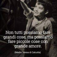 """""""Non tutti possiamo fare grandi cose, ma possiamo fare piccole cose con grande amore,"""" (Madre Teresa di Calcutta)"""